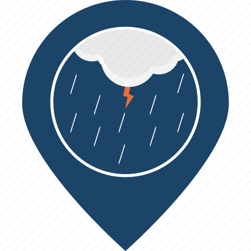 lightning, location, map marker, navigation, rainfall, storm, thunder icon