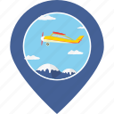 flight, jet, map marker, navigation, sky, tourism, travel icon