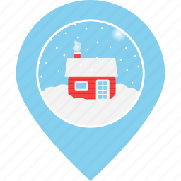cottage, house, location, map marker, northpole, snowfall, tourism icon
