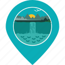 forest, location, map marker, navigation, scenery, tourism, waterfalls icon