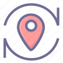 location, navigation, position, refresh location, update location icon