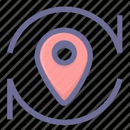 location, navigation, position, refresh location, update location icon