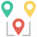 gps, location pins, locations, map pins, marker, navigation, pins icon