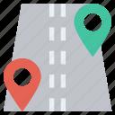 gps, location pins, locations, map pins, navigation, pins, road icon