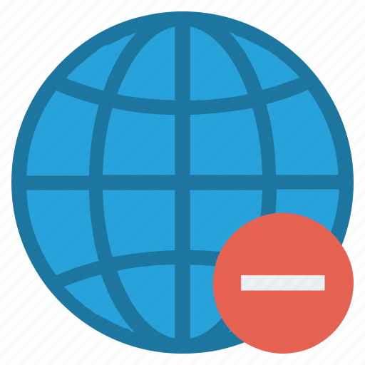 country, earth, globe, location, map, minus, world icon