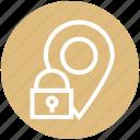 gps, location, location pin, locked, map pin, navigation, pin