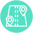 gps, location pins, locations, map pins, navigation, pins, road icon