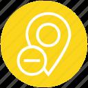 map pin, pin, location pin, navigation, minus, gps, location