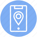 gps, location, location pin, map pin, mobile location, pin, smartphone icon