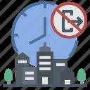 city, curfew, forbidden, lockdown, time icon