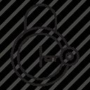 key, lock, opened, padlock, protection icon