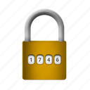 gold, numered, padlock, protection, safety icon