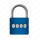 lock, numered, protection, safety icon