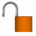 padlock, protection, safety, unlock icon
