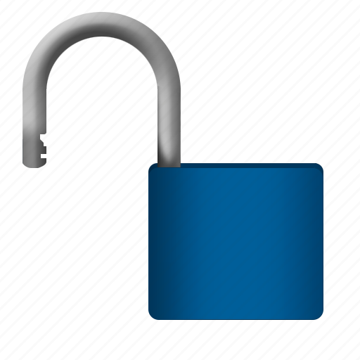 blue, padlock, protection, safety, unlock icon