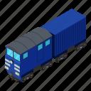 dm3, illustration, isometric, logo, object, train, vector