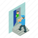 vector, illustration, logo, home, isometric, delivery