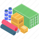 cargo container, containerization, packages, parcels, shipment icon