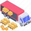 cargo container, container loading, container storage, containerization, shipment icon