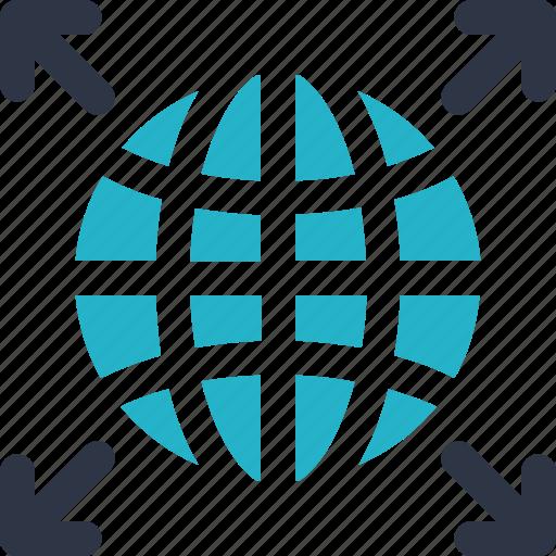 arrow, communication, delivery, globe, internet, web, worldwide icon icon