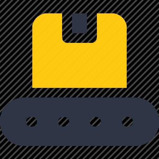 box, conveyor belt, crate, delivery, logistics, warehouse icon icon