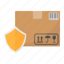 box, cardboard, delivery, logistic, package, protection, shield icon