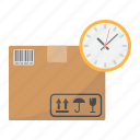 box, carton, clock, delivery, logistic, shipping, time icon
