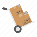 box, cardboard, delivery, dolly, hand, logistic, truck icon