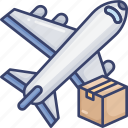 aeroplane, airplane, box, logistic, package, transport, transportation