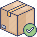 confirm, approve, package, shipping, logistic, box, complete icon