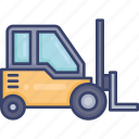 box, forklift, logistic, package, shipping, sorting, storage icon