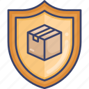 box, insurance, logistic, package, protection, shield, shipping icon