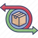 arrows, box, logistic, package, return, shipping, transfer icon
