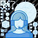 woman, agent, service, customer, person, headphone, female icon