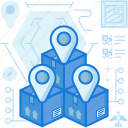 box, destination, location, marker, package, parcel, pin icon