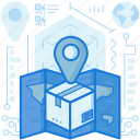 box, destination, location, map, marker, package, pin icon
