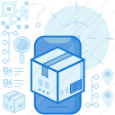 box, logistic, mobile, package, parcel, phone, smartphone icon