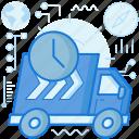 clock, deadline, time, transport, transportation, truck, vehicle