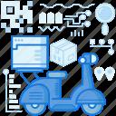 delivery, package, parcel, scooter, transport, transportation, vespa