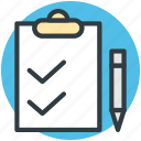 checklist, clipboard, document, pen, questionnaire
