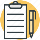 clipboard, edit, pen, task, text sheet icon