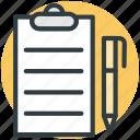 clipboard, edit, pen, task, text sheet