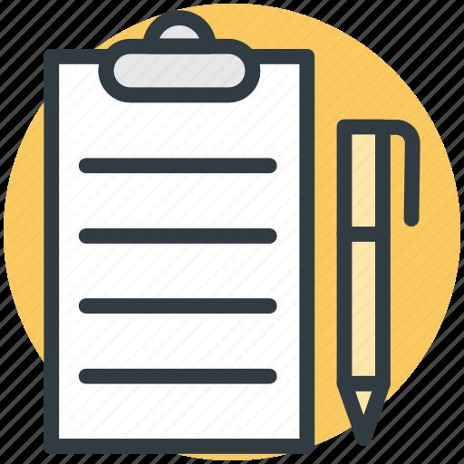 clipboard, edit, pen, task, text sheet icon