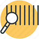 barcode, investigate, magnifying, search barcode, universal product code