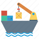 boat, container, crane, sailing, ship icon