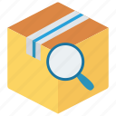 box, delivery, package, parcel, search icon