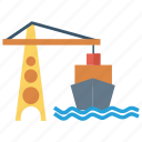 boat, crane, lifter, sailing, ship icon