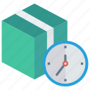 box, deadline, delivery, package, time icon