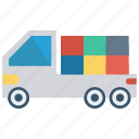 boxes, delivery, packages, truck, vehicle icon