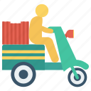 bike, delivery, fast, man, package icon